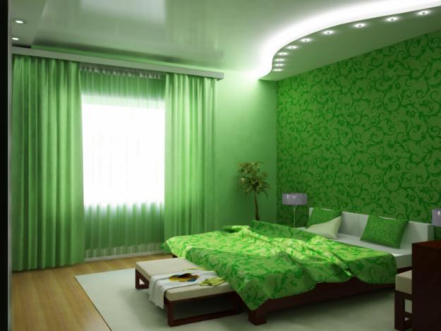 Зеленая спальня – это отличное реш...