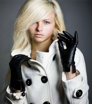 Перчатки - кожаные, кашемировые, в...