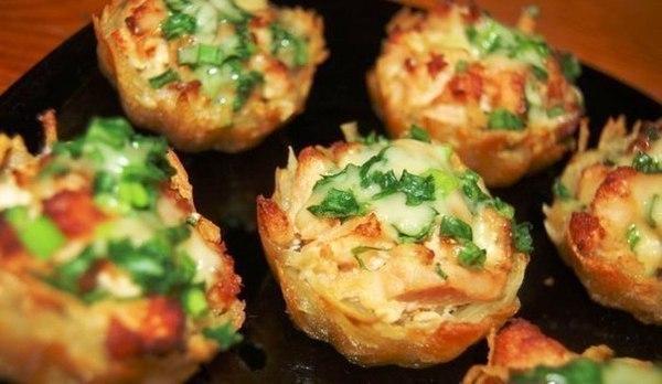 Тарталетки из картофеля с куриным...