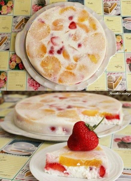Легкий творожный десерт с фруктами...