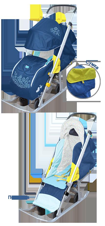 Самая популярная модель! Складные санки-коляска с колесом для детей от 6 месяцев до 4 лет