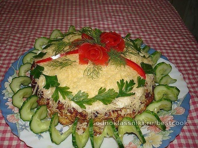 Мясной торт Наполеон
