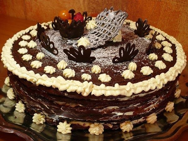 Шоколадный торт на Новый год Зимний
