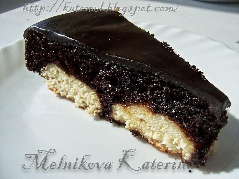 Шоколадный кекс с творожно-кокосовыми шариками
