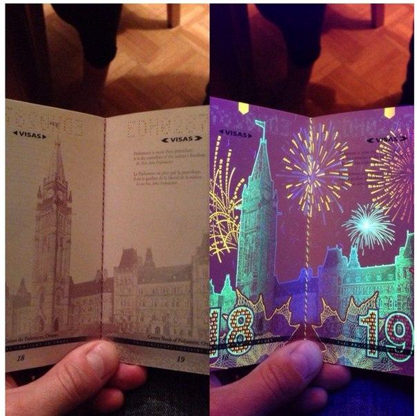 Новый канадский паспорт при ультрафиолетовом свете.
