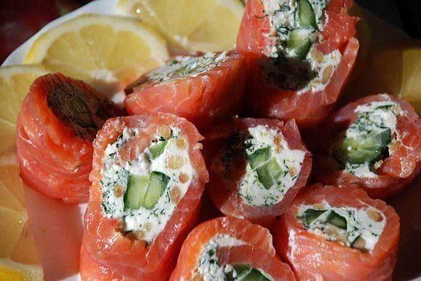 Закусочные рулеты из КРАСНОЙ РЫБЫ (6 рецептов):