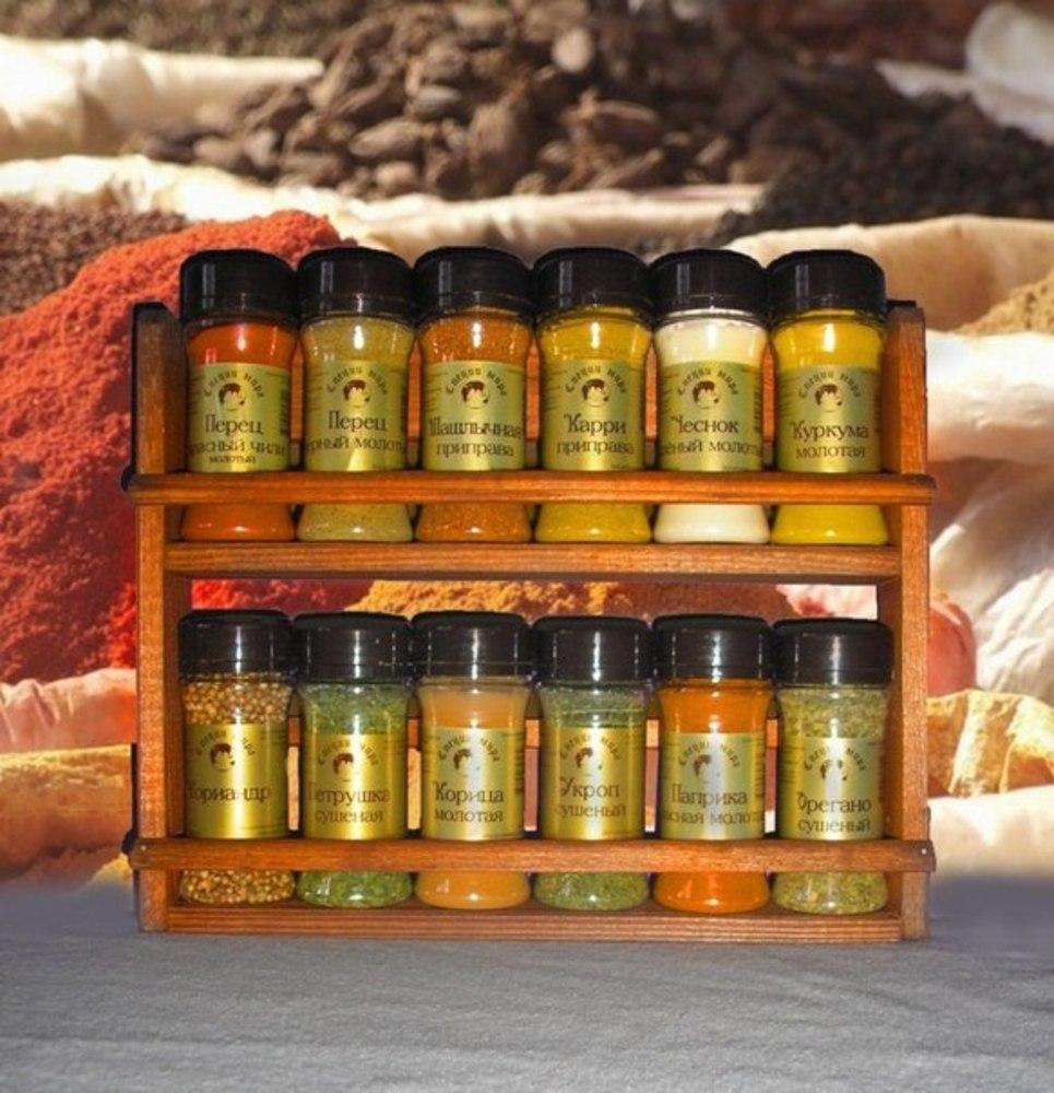 Набор из 12 видов специй на деревянной полке. Выкуп-2