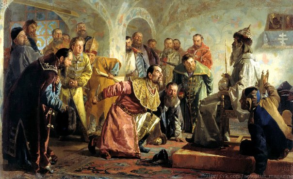 Во времена Ивана Грозного на Руси одним из знаков достоинства вельможи являлся расшитый воротник, который назывался
