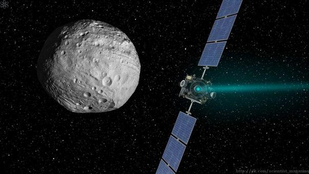 Исследовательский аппарат Dawn обнаружил следы воздействия жидкой воды на астероиде Веста