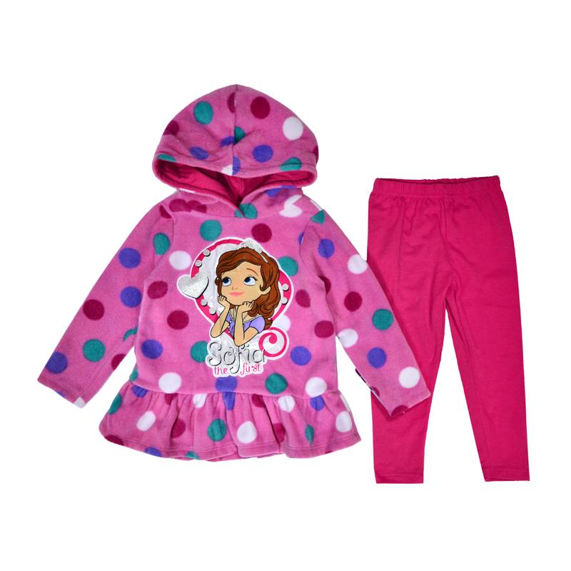 Праздничный вид можно создать с помощью ярко-розового утепленного костюма с принцессой Софией.