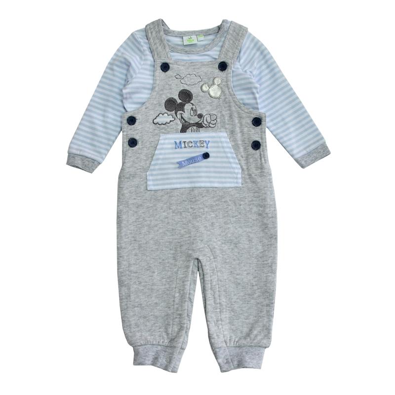 Удобный и практичный, комплект с изображением озорного Микки Мауса поможет маме принарядить своего новорожденного кроху для первого выхода в свет.