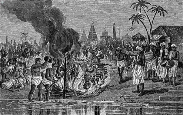 Издавна в Индии был распространён обычай сати самосожжение вдовы на погребальном костре умершего мужа