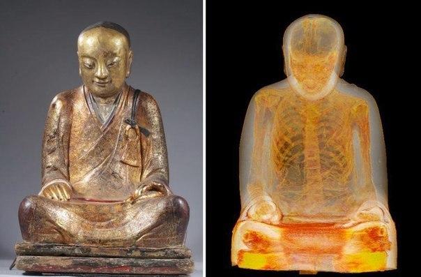 Отсканировав 1000-летнюю статую Будды, ученные увидели внутри неё монаха