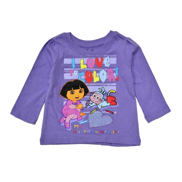 Если мамы ищут вариант повседневной одежды для своей малышки, то кофточка с изображением очаровательной девчушки Доры как нельзя лучше подойдет для таких целей.
