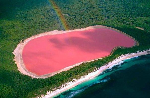 Хиллер озеро на юго-западе Австралии, примечательное своим розовым цветом. Озеро по краям окружено песком и