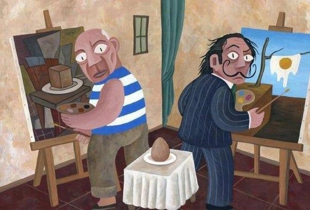 Пикассо и Дали рисуют яйцо.