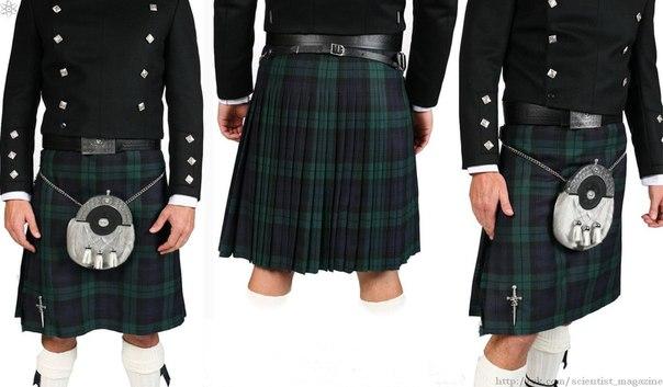 Традиционная одежда шотландских мужчин килт может носиться как с нижним бельём, так и без него