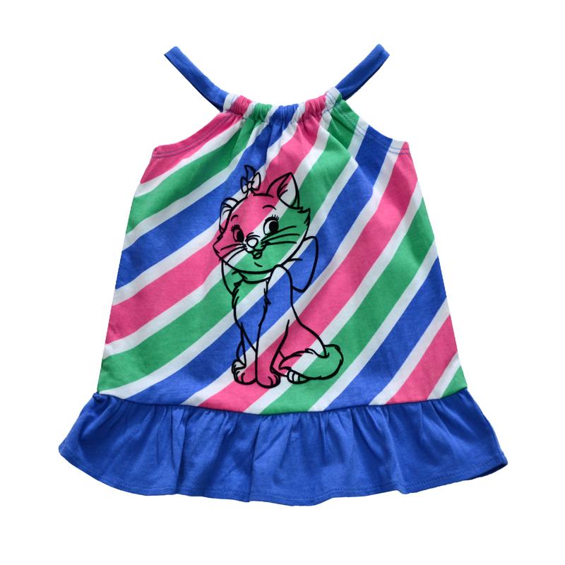 Платье в разноцветную полоску станет украшением гардероба маленькой модницы.