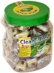 По многочисленным просбам. Clean&Fresh кто пробовал- тот знает. Таблетки, порошки для посудомечных и стиральных машин и