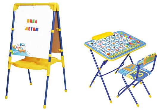 Ника детям-6. Мольберты, комплекты складной мебели для занятий от российского производителя. Санки по ценам 2014!