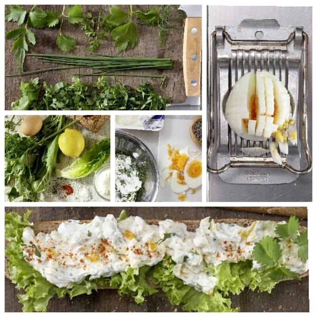 Багет по-франкфуртски с зеленью и яйцом