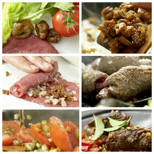 Говяжьи рулеты с инжиром и жареными овощами