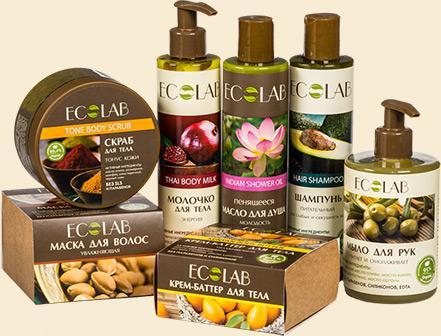 Органическая косметика EcoLab - 7. Не содержит SLS, SLES, парабены и силиконы. Цены от 80р. Подарочные наборы в красивых упаковках по 222р и тревел-набор
