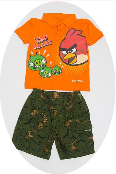 Сток! Летние комплекты для мальчиков A n g r y B i r d s. Шорты и футболка. 2-8 лет. Без рядов.