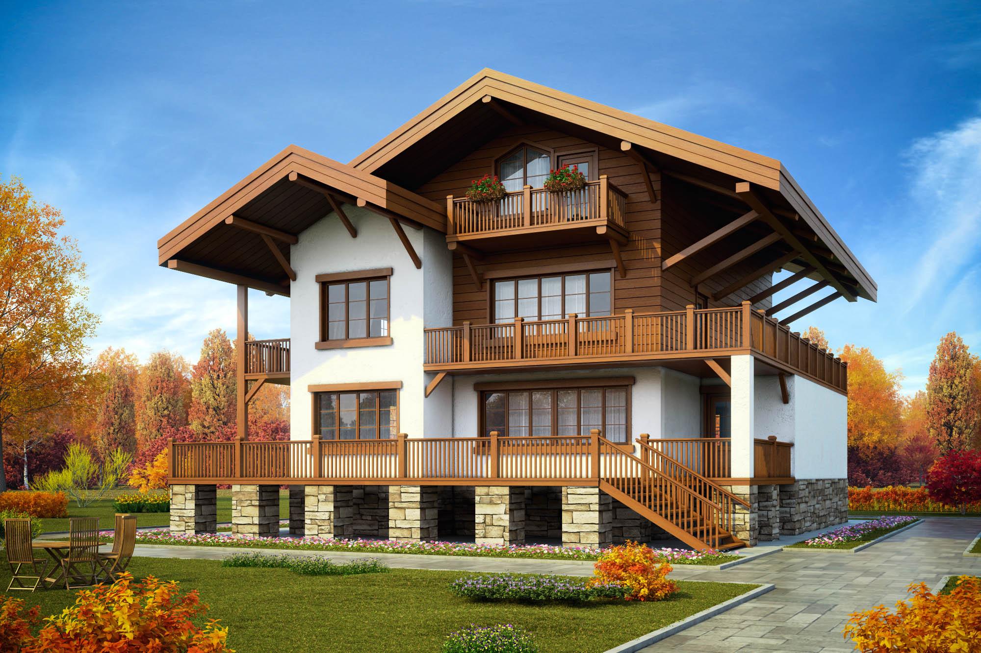 Строительство домов из дерева и камня