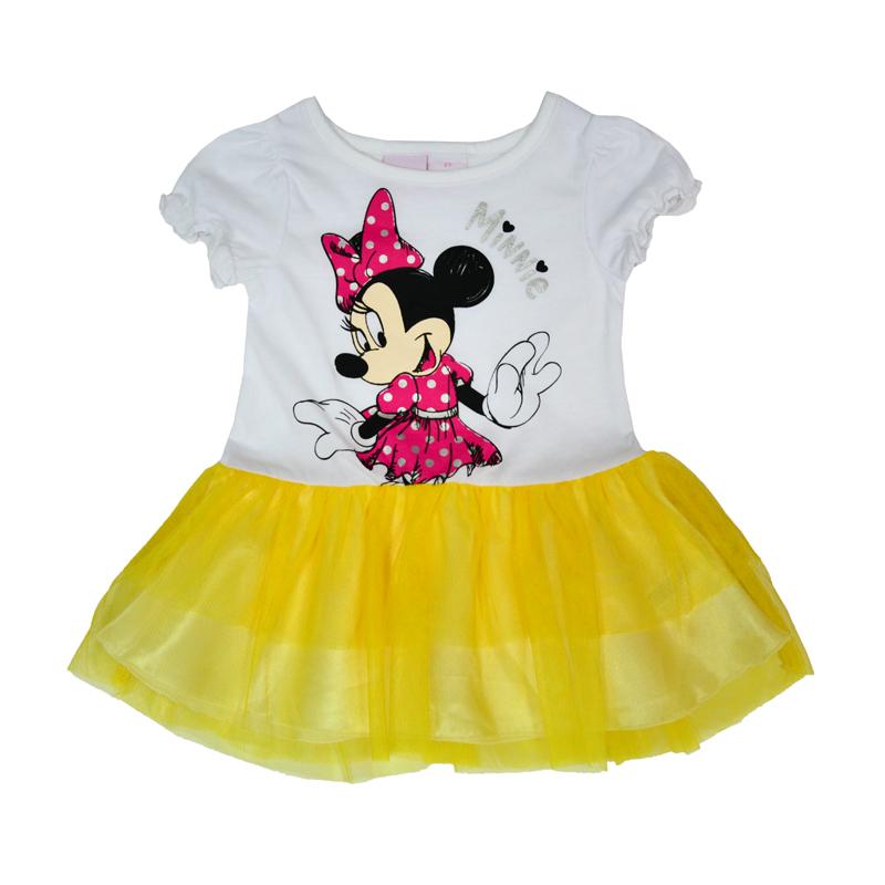 Легкое платьице для малышей, идеально для лета. Модель с короткими рукавами, декорирована на груди изображением загадочной Минни Маус.
