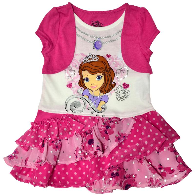 Праздничное платье с изображением любимицы многих девочек - принцессы Софии, будет идеальным нарядом для любого торжества.