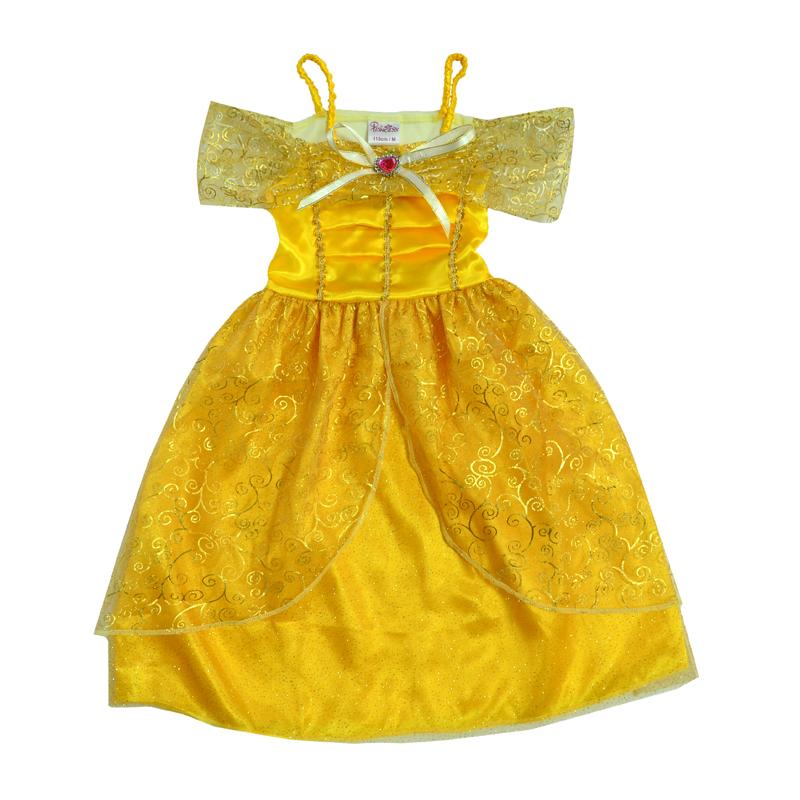Яркое желтое платье классического покроя, напоминающего наряды принцесс Дисней.