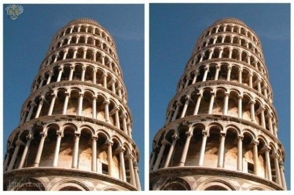 Две картинки Пизанской башни.