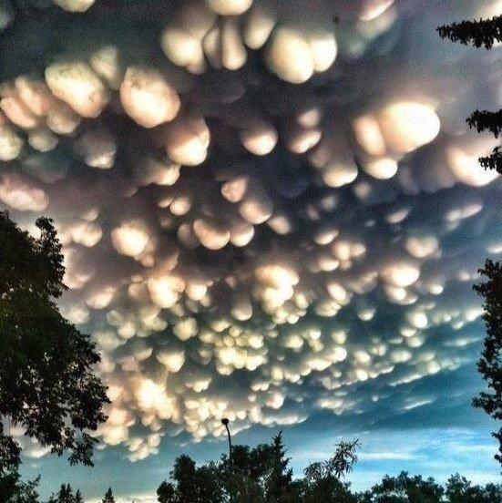 Редкий вид облаков, который называются мамматус (вымеобразные или трубчатые облака)