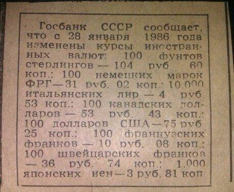 Курсы валют в СССР 1986 года.