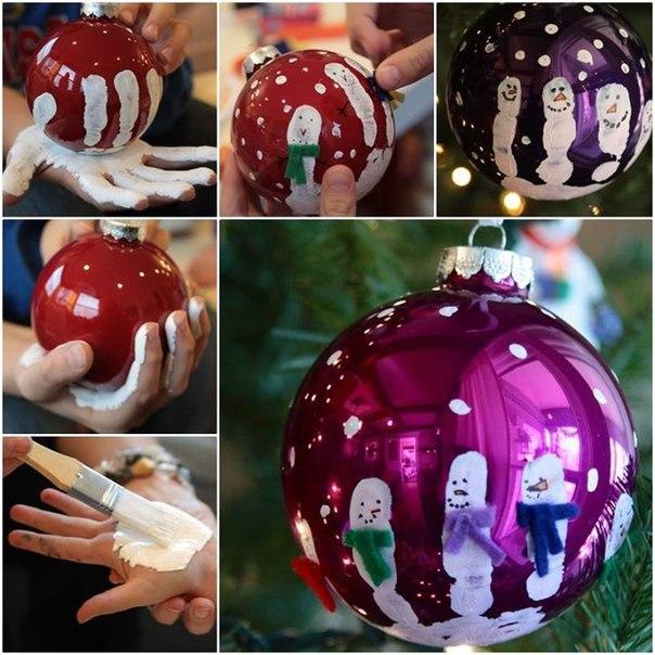 Милая идея украшаем ёлочный шарик вместе с малышом
