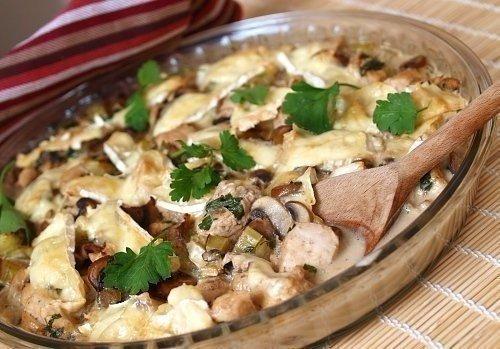 Курица с грибами в сливочном соусе.