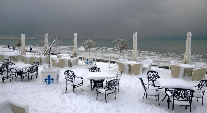Экзотика. Пальмы, море, снег...