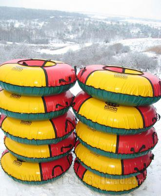 Раздачи заказов.Веселые ватрушки для катания с горок - надувные санки для тюбинга Лидер, производство в России. Высокое