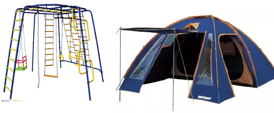 Акция на туристические палатки и уличные спортивные комплексы. Производство Россия. Скидки 30%.