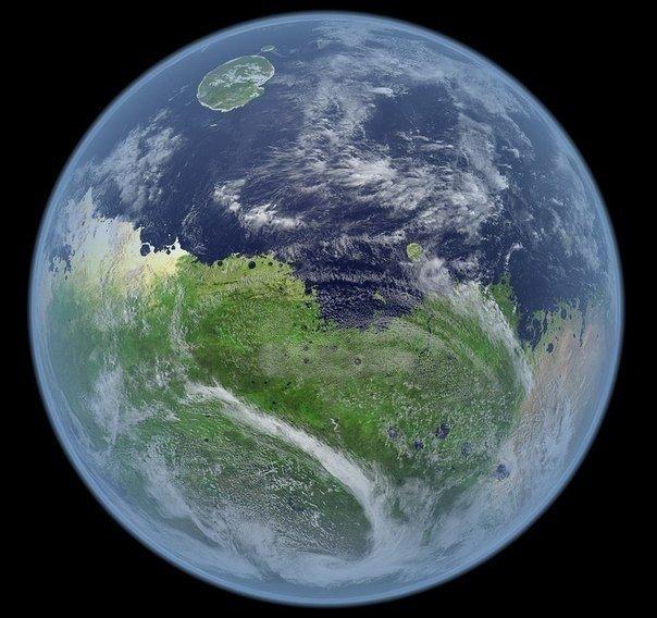 Так бы выглядел Марс, если бы на нем была вода.