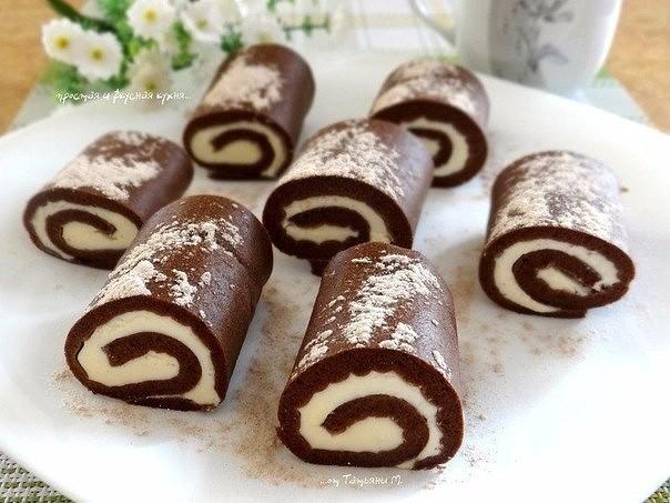 Шоколадные пирожные-рулетики