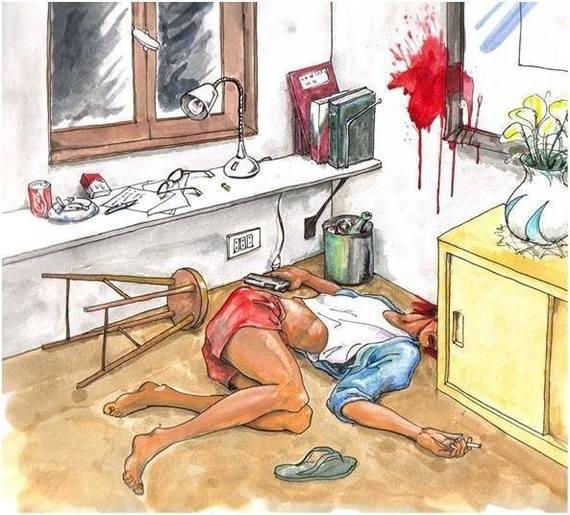 Занимательная задачка по криминалистике для разминки мозгов! Посмотрите внимательно на эту картинку и скажите, что вы видите: это убийство или суицид?