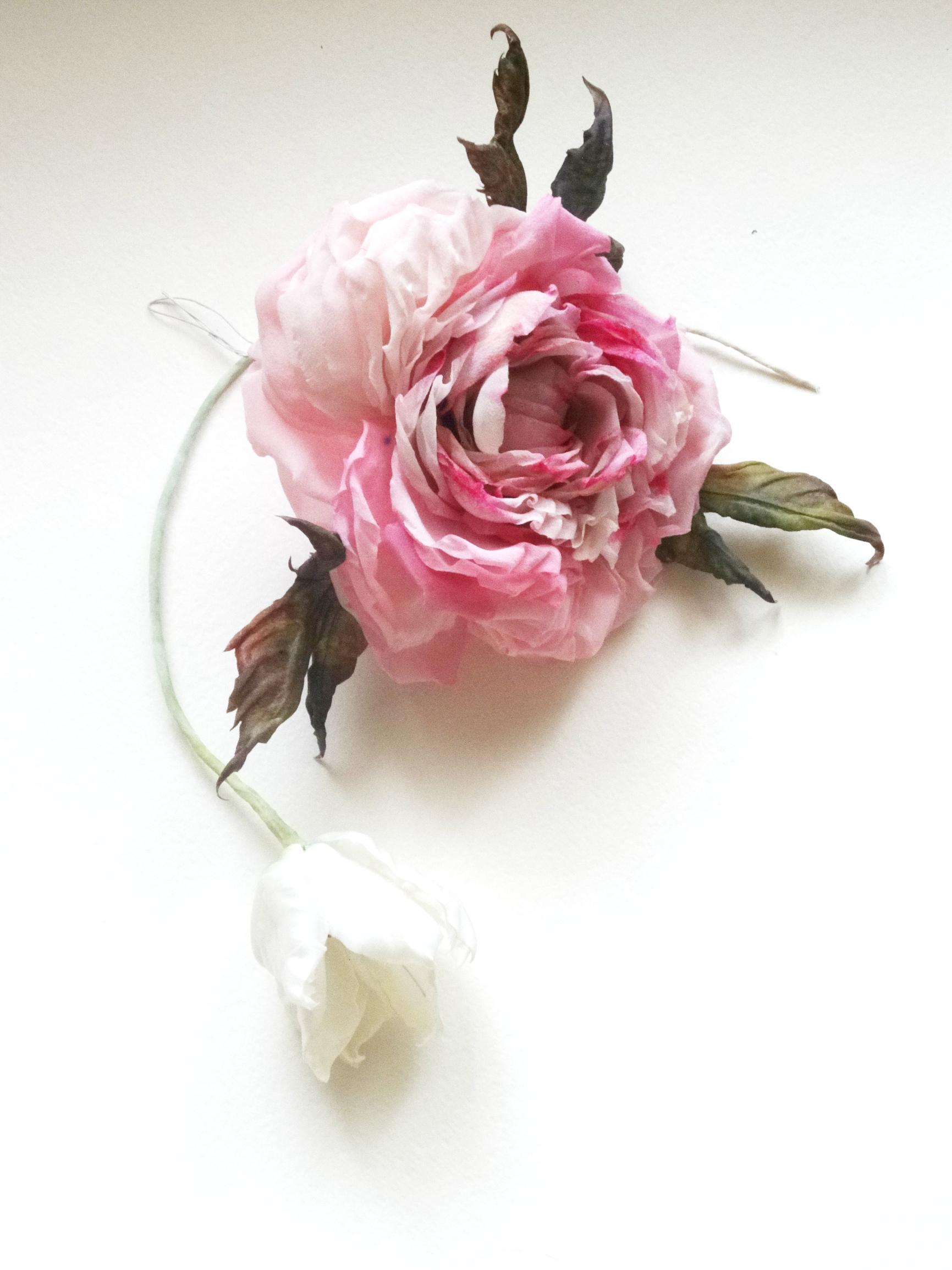 Тюльпан и Роза Шелк Ручная работа
