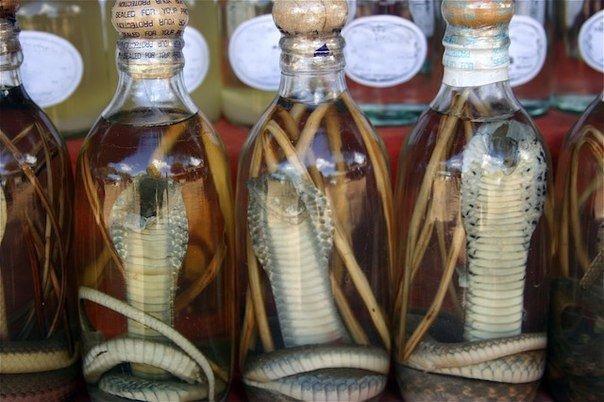Змеиное вино это национальный напиток, который получается путём консервации змей в рисовом вине или хлебном спирте