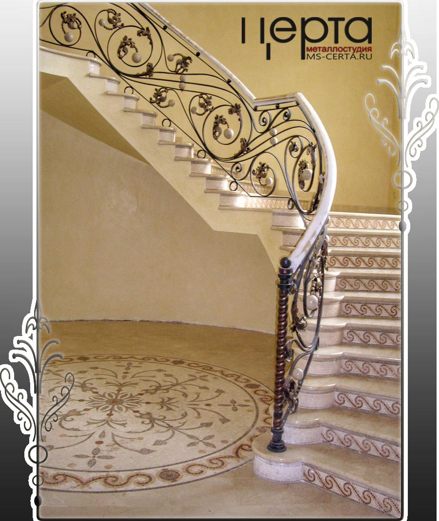 Кованые перила для лестницы в дом