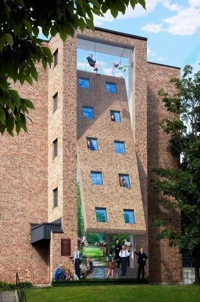 Оптические иллюзии на стенах зданий или стрит-арт уровень: Бог