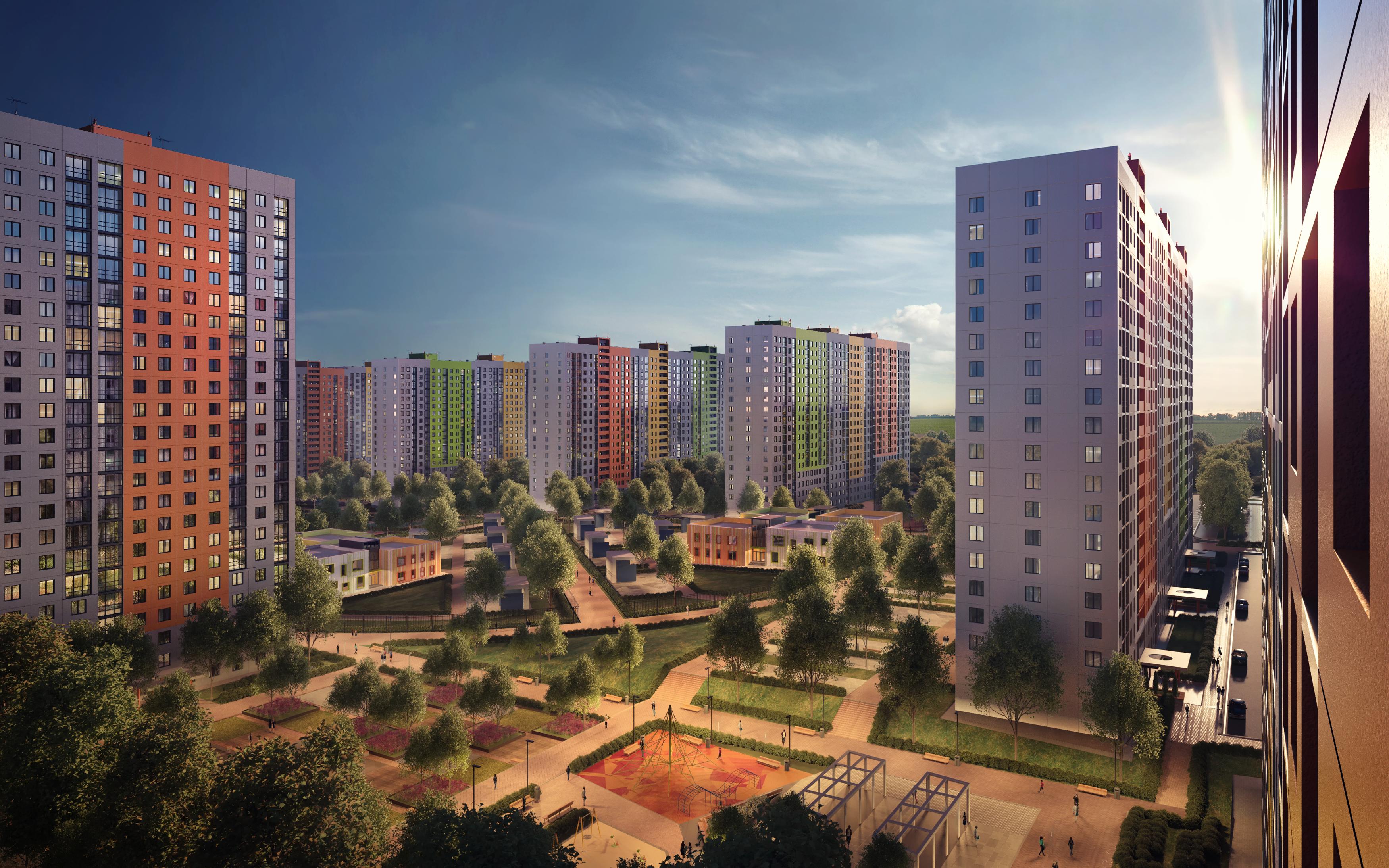 Тонированные в массе оконные блоки используются в новом жилом комплексе КМ Анкудиновский Парк