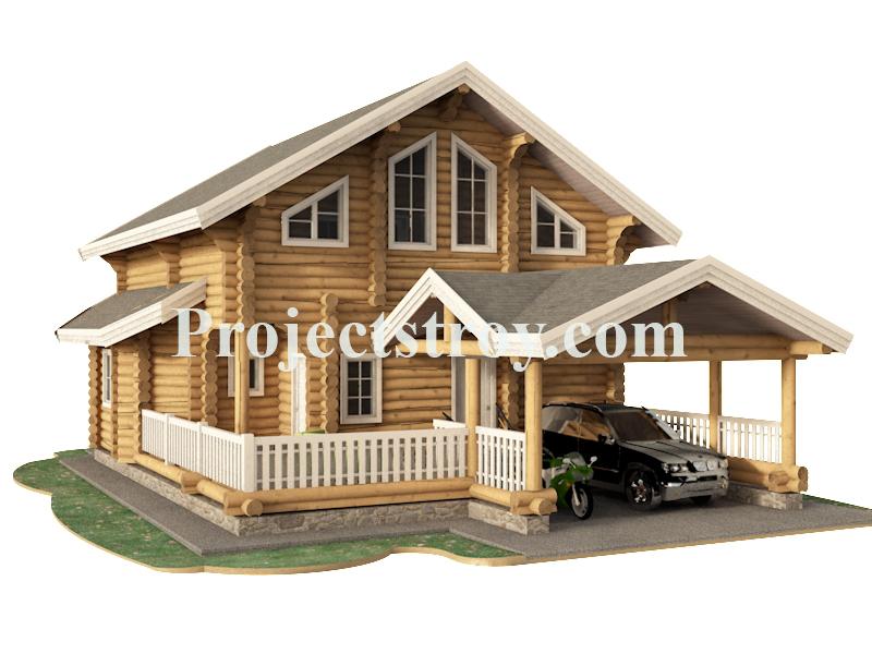 Проект деревянного дома с навесом под авто и сауной