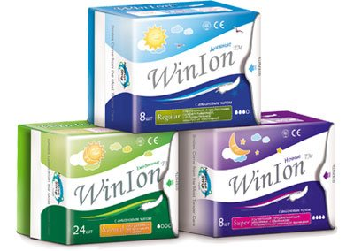 Анионовые гигиенические прокладки Winlon-превосходная впитываемость, мягкость и гигиеничность. А также зубная паста с